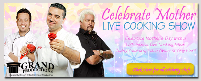 book a celebrity mothers day live cooking show
